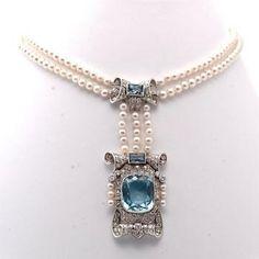 17.50 Carat Victorian Diamond Aquamarine Platinum Pearl Necklace