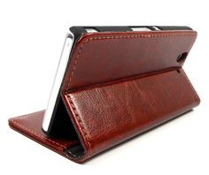 Brown Wallet Leather Case for Sony Xperia Z