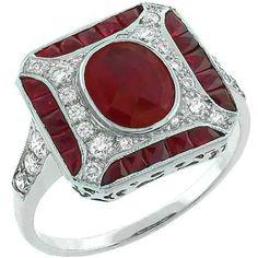 Estate 1.00ct Ruby 0.50ct Diamond Ring