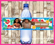 Moana Water Bottle Label printable Moana by PrintablesMirtaGyle