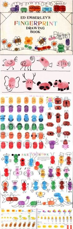 Fingerprint Drawing Book I will look for this for my preschool class. I love doing fingerprint and handprint art with them. Kids Crafts, Projects For Kids, Diy For Kids, Cool Kids, Art Projects, Fingerprint Art, Footprint Art, Handprint Art, Crafty Kids