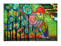 "Friedensreich Hundertwasser ""Man Find in Zahala"" Love the bright colors and loose geometric forms"
