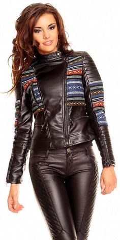 Chaqueta Fashion Chic T205 - Chaquetas - Chaquetas y Abrigos Black leather ribbed moto jacket and quilted black leather pants
