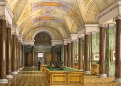 Interiors of the New Hermitage. The Hall of Engravings by Konstantin Andreyevich Ukhtomsky - Architecture, Interiors Drawings from Hermitage Museum