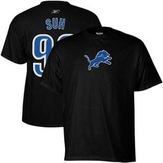 Reebok Detroit Lions Ndamukong Suh Name & Number T-Shirt by Reebok. $25.00. A great way to show your team pride -- this Detroit Lions Ndamukong Suh men's Name & Number cotton t-shirt from Reebok? features the official team logo on the front. The player's name and number are screenprinted on the back.