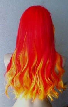 60 Trendy hair color red bright ombre # red Braids with beads Brown Ombre Hair, Ombre Hair Color, Cool Hair Color, Hair Colors, Red Ombre, Fire Hair, Colored Wigs, Yellow Hair, Long Wavy Hair