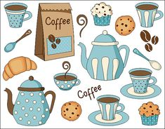 Coffee Time Digital Clip Art Set  Digital Clipart  by YarkoDesign, $3.99