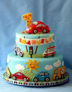 Birthday Boy Very Keen On Cars And Trucks There Was Also A Smash Cake Bottom Tier Vanilla Cake With Raspberry Imbc And Fresh Raspberries on Cake Central