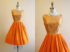50s Dress - Vintage 1950s Dress - Gold Brocade Fiery Orange Chiffon Cocktail Party Dress XS - East of Java