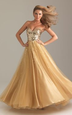 Cheap Night Moves 6422 Strapless Gold Sequins Long Prom Dress