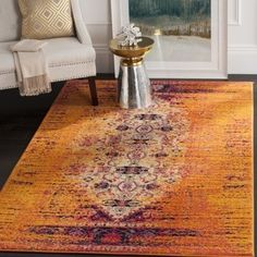Shop for Safavieh Monaco Modern Abstract Orange/ Multi Rug (4' x 5'7). Get free shipping at Overstock.com - Your Online Home Decor Outlet Store! Get 5% in rewards with Club O!