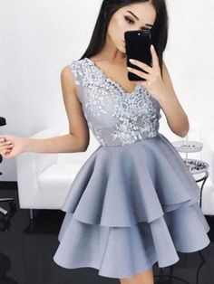Princess Homecoming Dresses, Lavender Prom Dresses, Short Prom Dresses With Layered Sleeveless Mini
