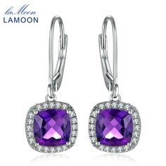 LAMOON 6mm 2.4ct Natural Almofadas Purple Amethyst 925 Sterling Silver Jewelry White Gold Platinum Plated Pillows Drop Earrings