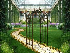 Metal arbors are sophisticated option for exterior decor of home. More designing options are available in black iron arbors. Garden Art, Garden Design, Metal Arbor, Climbing Flowers, Outside World, Floral Wall, Trellis, Wrought Iron, Garden Landscaping