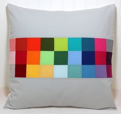 Pillow Cover - 18 x 18 Inches - Rainbow Patchwork Stripe.