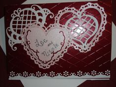 Anniversary easel card for my daughter and son-in-law Heartfelt Creations, Cuttlebug folder, border punch