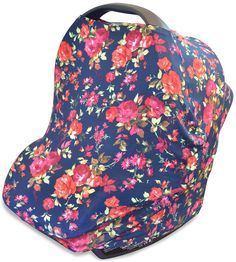 Stretchy Multi-use Car Seat Canopy + Nursing Cover + Shopping Cart Cover in Vintage Navy Floral Print