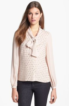 Tory Burch 'Taliah' Bow Silk Blouse