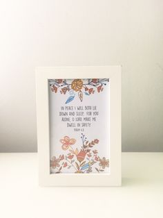 A personal favourite from my Etsy shop https://www.etsy.com/listing/385273434/christian-art-bible-verse-in-peace-i