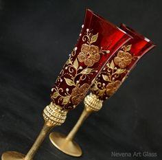 Rojo champán gafas boda gafas pintado a mano por NevenaArtGlass