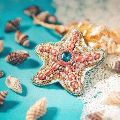 Купить «Морская Звёздочка» брошь, вышитая бисером, жемчугом и кристаллами - брошь морская звезда