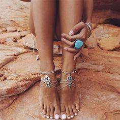 Sand Swept Blue Moon Anklet