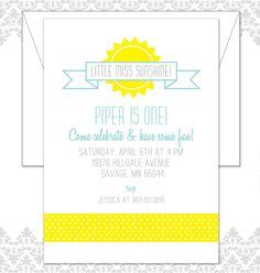 Little Miss Sunshine Birthday Invite by Spilling Beans
