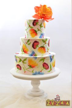 Hand Painted Wedding Cake by Nasa Mala Zavrzlama - http://cakesdecor.com/cakes/239427-hand-painted-wedding-cake