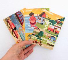 Postales veraniegas ilustradas diseñadas con amor, risas y mucho calor! Puedes comprarlas en nuestra web www.mundosucedaneo.es/tienda Laughter, Parts Of The Mass, Store