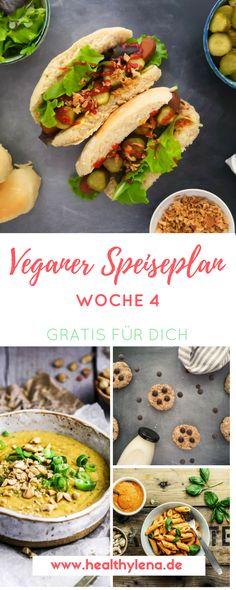 Willkommen zur Woche 4: Auch diesmal habe ich wieder einen veganen Speiseplan für dich dabei, der dir die Rezepte für eine Woche liefert. Den Wochenplan inklusive Rezepte gibt es gratis für dich zum Abspeichern! Alles vegan, vieles glutenfrei und ohne Zucker. #vegan #speiseplan #healthylena #wochenplan #vegankochen #rezepte #veganerezepte #gesund