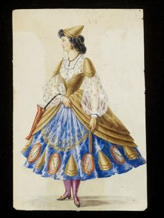 Woman's masquerade ball dress. Unknown subject, possibly related to firemen or weather forecasting. Watercolour drawing probably by Leon Sault for Charles Frederick Worth. Paris, 1860s.