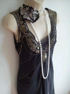 Karen millen bnwt grey 100 silk beaded embellished flapper style