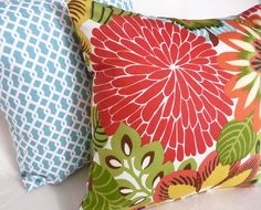 Bright Bold Floral Pillows Cushion Covers by PillowThrowDecor, $35.00
