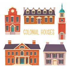 Buy Urban Retro Colonial Style Building Cartoon by klyaksun on GraphicRiver. Old residential and government buildings, Victor. Seaside Village, Victorian Homes, Colonial, Vector Free, Travel City, Urban, Retro, Vintage Travel, House Styles