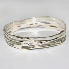 Handmade silver jewellery, perfect gift, unique jewellery, worldwide shipping Beautiful sterling silver organic Bangle on Etsy, £140.00 #SterlingSilverBangles #SterlingSilverJewellery  #SilverJewelry