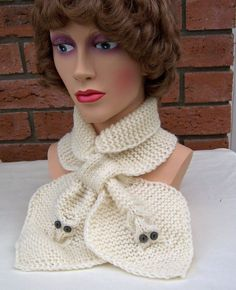 Handknitted Women Owl Scarf Bow Scarf with Owls   by evefashion, £19.00
