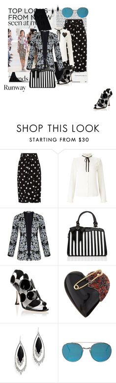 """mixed patterns"" by ffendi ❤ liked on Polyvore featuring Andrea Marques, Altuzarra, Lipsy, Miss Selfridge, Manolo Blahnik, Alexis Bittar, StreetStyle, NYFW, seenatnyfw and hotrunwaytrends"