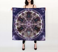 Unfoldment Large Silk Scarf, Square Scarf by Alicia Kent. Artwork printed on fabric and finished into a lovely square scarf Mandala Meditation, Mandala Art, Artwork Prints, Fine Art Prints, Shop Art, Human Soul, Square Scarf, Wearable Art, Printing On Fabric