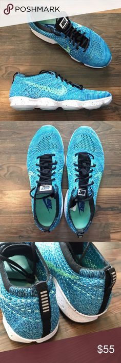 """Nike Flyknit Zoom Running Shoes NWOT Size 8.5 Pair of brand new without tags Nike Flyknit Zooms in the color """"Blue Lagoon"""". The low profile, breathable mesh, and Zoom Pods make for a stable and flexible running shoe. These have never been worn.   Size 8.5 No Box  Item Number: R19N4C1 Nike Shoes Sneakers"""
