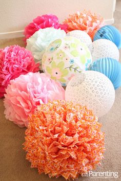 Isn't this interesting?  DIY pom pom chandelier step 1