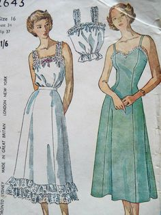 Vintage 1940s Simplicity 2643 sewing pattern Pretty full or half slip sewing pattern plus a camisole top Unused plain pattern pieces pre cut and