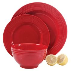 Gibson Select Plaza Café Dinnerware 12-pc. Set - Red