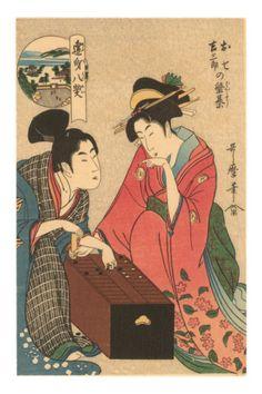 japanese woodblock - geishas playing