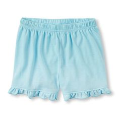 Baby Girls Solid Ruffle Pajama Shorts - Blue - The Children's Place