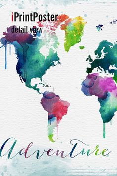 world map print adventure awaits watercolor world map