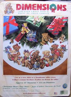HTF Dimensions Christmas Bears Tree Skirt Counted Cross Stitch #8693 ** FREE SHIPPING