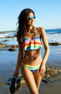 Wildfox '70s Rainbow' Flutter Bikini Top | Nordstrom LOVE LOVE LOVE the rainbow! @Costen Warner