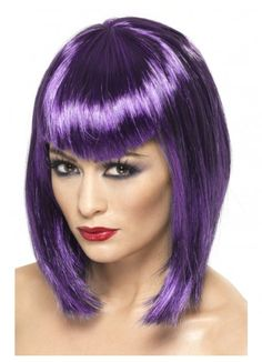 Pink Wig with Fringe for Adults: Wigs,and fancy dress costumes - Vegaoo Dark Purple Hair, Purple Wig, Halloween Wigs, Halloween Fancy Dress, Adult Halloween, Women Halloween, Halloween Ideas, Short Wigs, Long Wigs