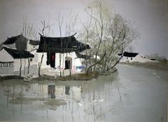 Hand-painted oil painting living room decorative painting the vestibule painting study high-end frameless painting copying the works of Wu Guanzhong A8-Taobao