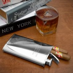 Stainless Steel Flask and Cigar Holder - $40 #smoke #drink #metal #gift #carry #pocket #modern